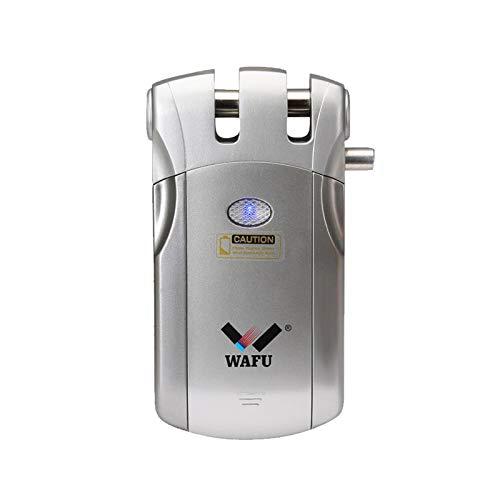 WAFU WF-018U Cerradura Inteligente Inalámbrica Cerradura Invisible Cerradura Control Remoto Desbloqueo de iOS Android App con 4 Control Remotos Sistema de Seguridad de Acceso, Plata