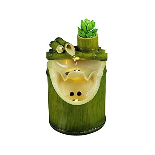 OMING Fuentes de Interior Resina Fung Shui Adornos casero decoración de bambú diseño Agua Fuente de Agua Tabletop Afortunado rocoso Rueda de Agua Waterscape artesanía Fuente de Agua de Mesa Interior