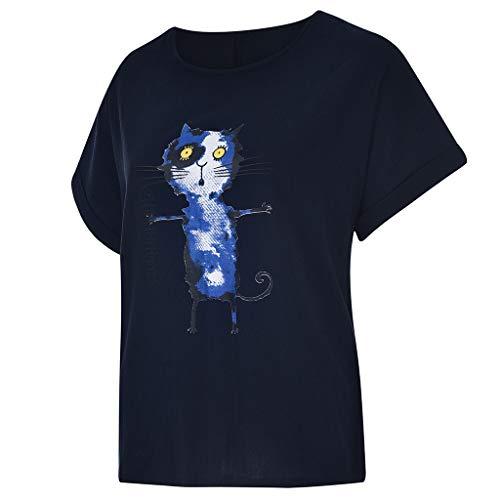 TUDUZ Blusas Mujer Manga Corta Verano Camisas Camiseta de Algodón y Lino con Estampado de Perro de Dibujos Animados(S Armada,S)