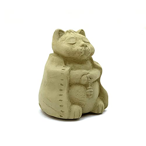 Small Meditating Buddha Cat: Solid Durable Stone Sculpture. Perfect Indoor Décor & Outdoor Safe. Handcrafted in The USA