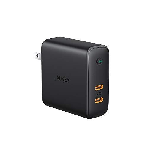 AUKEY ACアダプタ 充電器 USB-C 2ポート 急速充電器 アダプタ 63W GaN (窒化ガリウム) 採用 折畳式/PD3.0対応 iPhone XS/XS Max/XR/X、GalaxyS9、MacBook Pro、iPad Pro、Nintendo Switch/iPhone 11/11 Pro/11 Pro Maxその他USB-C機器対応PA-D5【PSE認証済み】