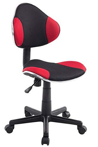 CLP Bürostuhl Bastian mit hochwertiger Polsterung und Netzbezug I Höhenverstellbarer Schreibtischstuhl mit Laufrollen bis zu 100 kg belastbar I erhältlich schwarz, rot