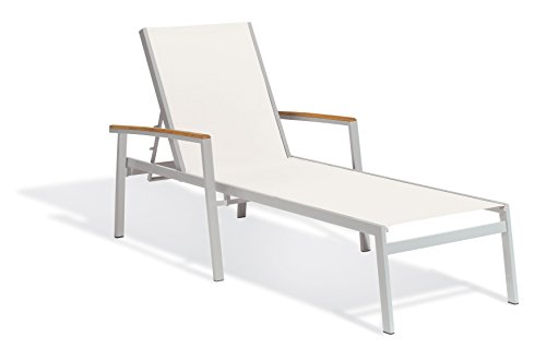 Hot Sale Oxford Garden Travira Aluminum and Teak Chaise Lounge, Natural Sling, 4-Pack