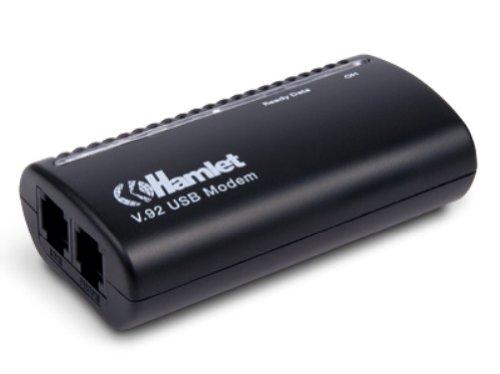 Hamlet HV92USB2 - Módem (USB, 56 Kbit/s, DTMF, RJ45), color negro