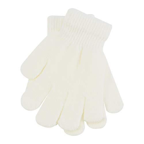 Kinder Handschuhe Winterhandschuhe Strick Fingerhandschuhe für 3-12 Jahre Jungen und Mädchen (Weiß)