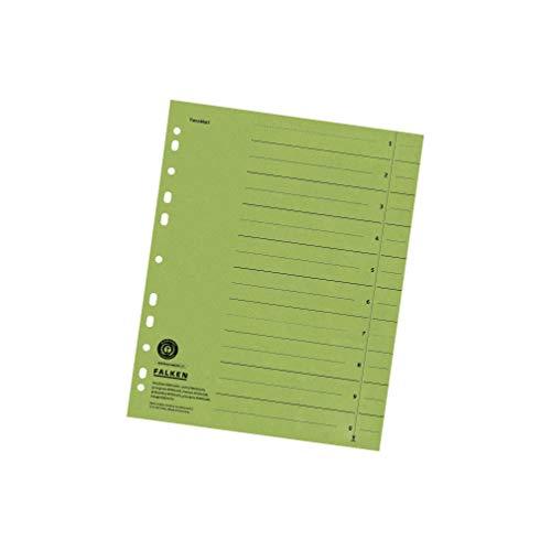 Original Falken 100er Pack Trennblätter. Made in Germany. Aus Recycling-Karton für DIN A4 grün Trennlaschen Trennblätter Ordner Register Kalender Blauer Engel