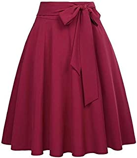 MASSAYA Women's Crepe Silk Skirt (MS 614, Red, Free Size)