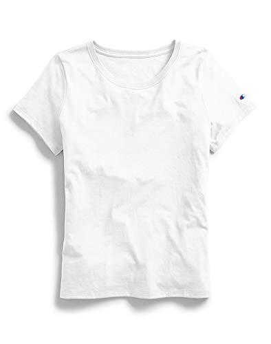 Champion Women's Classic Jersey Short Sleeve Tee, White, Small