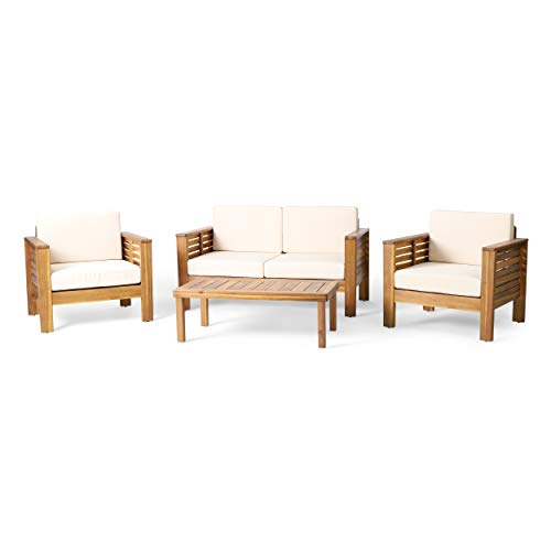 Christopher Knight Home 314050 Louver Chat Set, Teak + Cream
