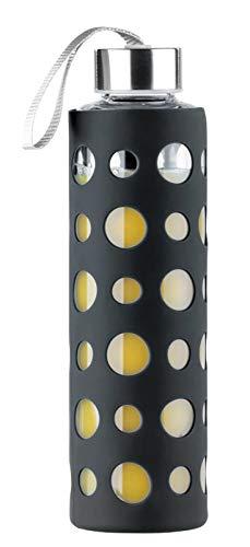 PEARL Glasflasche mit Hülle: Trinkflasche aus Borosilikat-Glas, Schwarze Hülle, 550ml, BPA-frei (Glasflasche mit Schutzhülle)