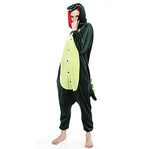 Love Home Cartoon Siamese Pyjamas Unisex Erwachsene Tier Dinosaurier Nachtwäsche Mit Kapuze Cosplay Kostüm Klimatisierte Kleidung,Green,L