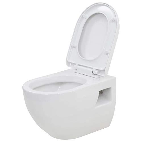 vidaXL Wand WC Keramik Weiß Absenkautomatik Softclose WC-Sitz Hänge Toilette