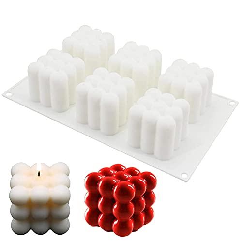 Candele Stampo 3D Sfera Palla Candela Stampi 3d Stampo per Candela Cubo 3D Stampo 3D a Forma di Cubo Stampo per Torta in Silicone A Sei Fori Ornamenti Del Fondente Candela per Aromaterapia (1 Pezzo)
