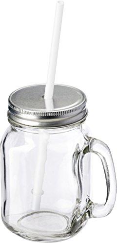 Preiswert&Gut Trinkbecher mit Strohhalm und Deckel Spülmaschinen geeignet 500ml Einweggläser mit Deckel + Strohalm Trinkbecher mit Henkel