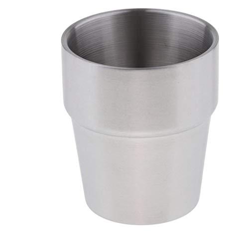 Amuzocity Double Wall Wine Cup Edelstahl Bier Milchbecher Trinkreise 260ml / 9oz - Silber A
