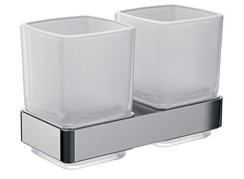 Emco Glashalter 52500100 Loft Doble (Cristal Satinado, Soporte Cromado, Vaso para cepillos...