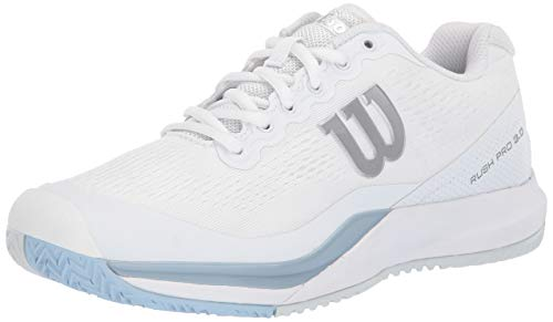 Wilson RUSH PRO 3.0 Tennis Shoes Women, White/Cashmere Blue/Illusion Blue, 7.5