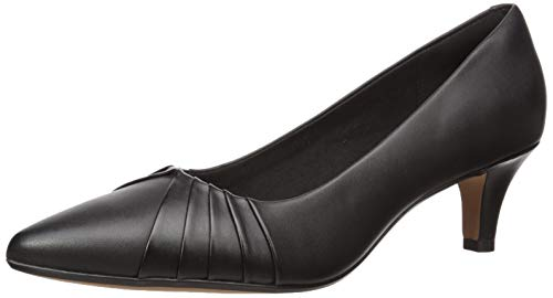 Clarks womens Linvale Crown Pump, Black Leather, 9 Wide US