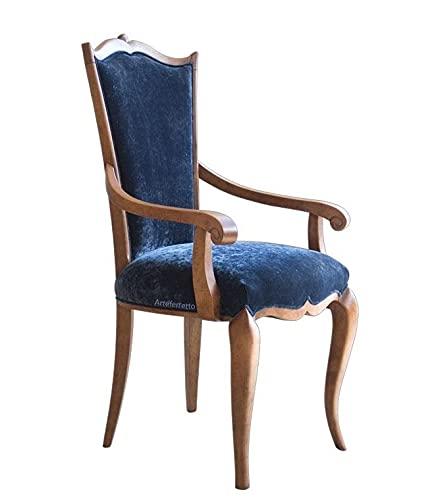 Arteferretto Chaise galbée avec accoudoirs, Dossier Haut, Bois Massif, Design Italien et Style Classique