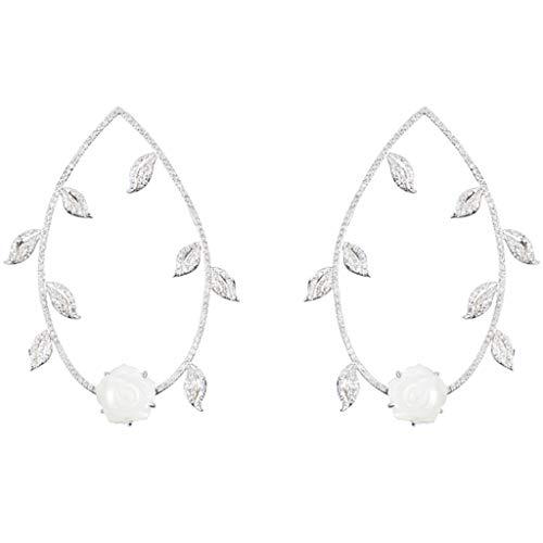 Jewelry Earrings Women's Stud Earrings 925 Silver Rose Ring Earrings A Pair of Hand-Set Earrings Best Gift Gift Box Ball Clip-Ons Cuffs&Wraps Drop&Dangle Hoop Stud (Color : White, Size : 4565mm)