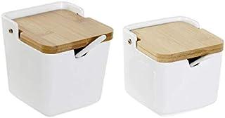 D,casa - Salero y azucarero de Cocina Basic con Tapa Bambu, cucharitas Incluido