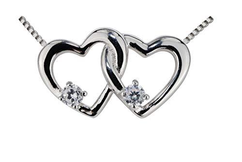 Fiterio Halskette für Damen - Edle Silberkette aus echtem 925er Sterling Silber - Silber Kette mit Doppelherz-Anhänger in rhodiniertem Silber - Silberschmuck in hochwertiger Geschenkbox - Damenkette