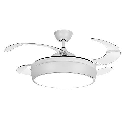 TODOLAMPARA - Ventilador de techo con luz LED modelo SIMUN color blanco con aspas retráctiles transparentes, silencioso, con 3 velocidades y control remoto con mando a distancia