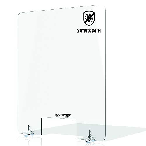 GuardMate Plexiglass L-Shape Sneeze Guard for Desk Acrylic Divider Portable Plastic Barrier Plexiglass Shield For Desk Cashier Checkout Counter (1, 28X34)