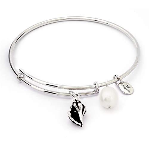 Chrysalis CRBT1814SP Damen Armreif Charmed Collection Muschel Meeresschnecke Messing Silber weiß synth. Perle