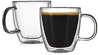 CnGlass Clear Coffee Mug Set of 2 (5.4oz 160ML) Double Wall Insulated Glass Cup,Modern Glasses with Handle,Heat Resistant for Tea,Coffee,Latte, Cappuccino,Espresso, Juice, Water