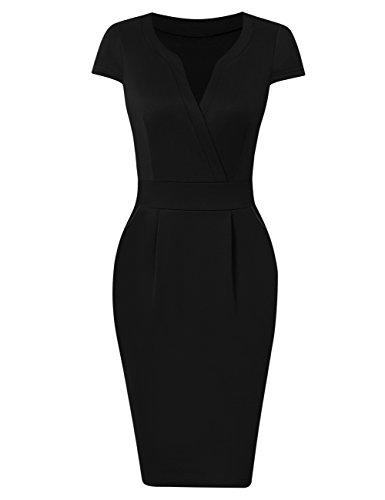 KOJOOIN Damen Elegant Etuikleider Knielang Kurzarm Business Kleider Schwarz XL