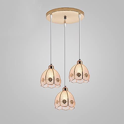 JIUFACAI Modern Spiral 3 Lámpara Colgante, Crystal E27 Lámpara Colgante Industrial Estilo Edison Portalámparas, Lámpara Colgante suspendida Lámpara de Techo-Cobre Rosa