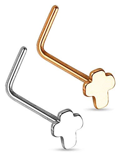 Body Jewellery Shack 1 of Cross Nose Stud Ring L Shape 316L Surgical Steel and Plated Rose Gold. (Rose Gold Plated)