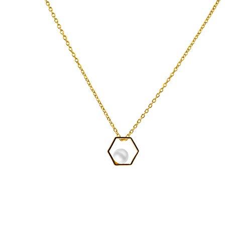Secret & You Collar de Perla Cultivada Redonda de 3,5 a 4 mm de Agua Dulce - Cadena y Colgante de Plata de Ley de 925 milésimas Bañada en Rodio o en Oro de 18k 40 o 45 cm de Largo.