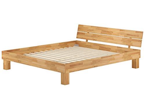 Erst-Holz® Doppelbett Überlänge Kingsize 180x220 Buchebett Massivholz Natur mit Rollrost 60.80-18-220