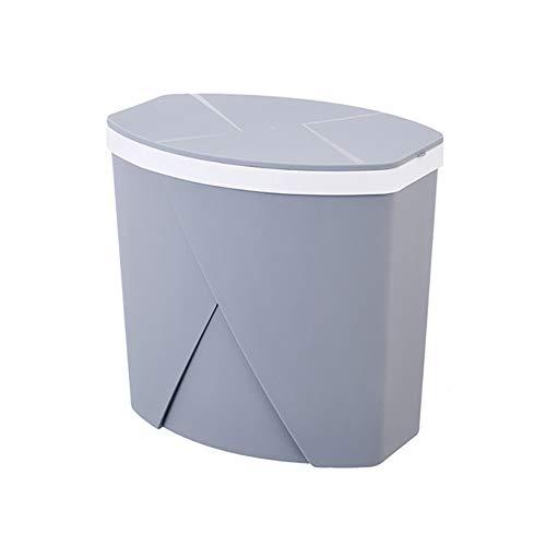 FuLov Mülleimer 15L mit Deckel Kunststoff Hygienische Schmaler Universal Softclose für Küche Büro Bad mit Bag Aufbewahrungsbox Creative,Chrome