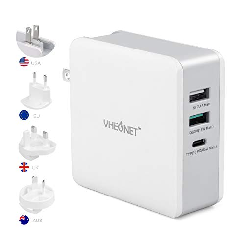 USB C Charger,VHEONET 65W Fast Charger & Type-C Charger with a 65W PD Port,3-Port 65W Charger with US/UK/EU Plugs for Travel, for MacBook Pro, USB-C Laptops, iPad Pro, iPhone, Galaxy,Pixel and More