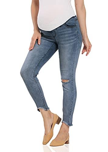 Kegiani Vaqueros premamá, cintura baja, pantalones vaqueros ajustados para embarazadas 04 Deep Blue L