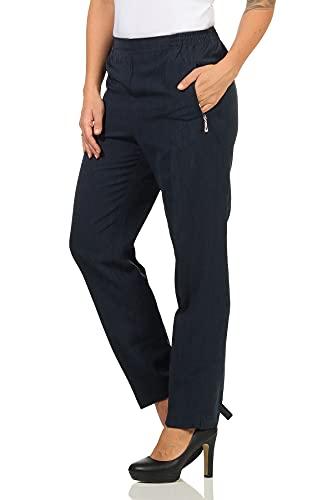 Sockenhimmel Hosen Damen Seniorenhose Kurhose leichte Damenhose Schlupfhose für jeden Tag Kurzgrößen Stoffhose mit Bügelfalte (23, Marine)