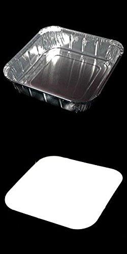 100 X gros de Plateaux et couvercles bifteck. Parfait pour Barbecues, Kebabs et servir des aliments. (Longueur-22cm x Largeur 22cm-x Profondeur-3.8cm)