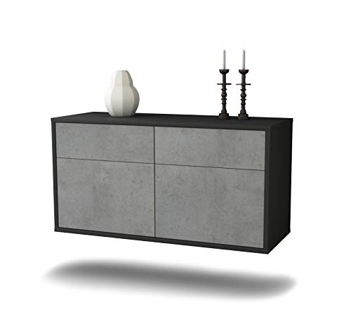 Dekati Lowboard Austin hangend (92x47x35cm) Corpus antraciet mat | Front beton-look | Push-to-Open | hoogwaardige lichtlopende rails
