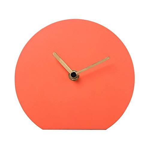 NIKKY HOME Stille Tischuhr Eisen Kein-Skalen Design Nicht Ticken für Wohnzimmer Schlafzimmer Hauptdekoration 15,5 x 5,4 x 14 cm Orange