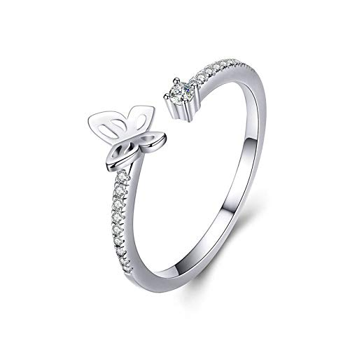 JIARU 925 Sterling Silver Ring for Women Adjustable ring fashion simple ring and Butterfly zircon platinum plated rings for Girl Open Finger Ring Gift