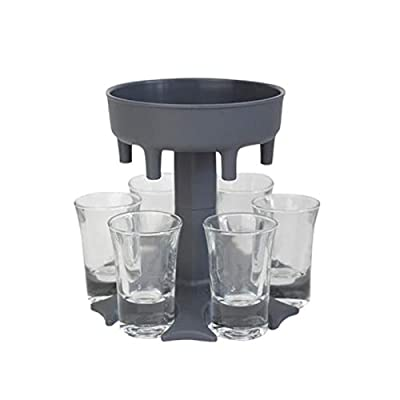 OLOPE 6 Shot Glass Dispenser and Holder, Shots Dispenser for Filling Liquids, Multiple 6 Shot Dispenser, Bar Shot Dispenser, Cocktail Dispenser,Carrier Liquor Dispenser Gifts Drinking Tool (Gray)