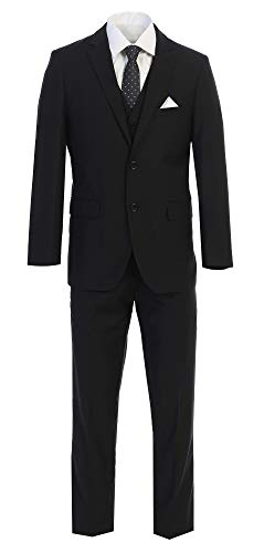 Mens 3 Piece Slim fit Checked Suit Blue/Black Single Breasted Vintage Suits,Black,Large