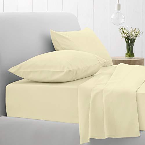 GT Ghazlan_Textiles ® - Lenzuola in percalle di cotone per letto singolo, matrimoniale, king e super king size, colore: panna, matrimoniale