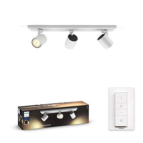 Philips Hue Runner Barrra de 3 Focos Inteligentes LED blancos con Bluetooth, Luz Blanca de Cálida a Fría, Compatible con Alexa y Google Home