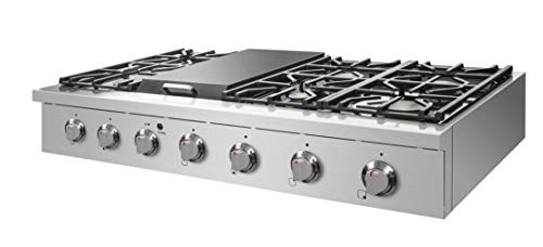 "NXR SCT4811 48"" Pro-Style Natural Gas Cooktop, Stainless Steel 2 6 German single-stack burner Featuring high power 18, 000 BTU burners for larger cookware. Simmer delicate sauces with low power 6, 000 BTU and everything in between 3 x heavy-duty flat cast-iron cooking grates to ease movement of large pots without having to lift them"