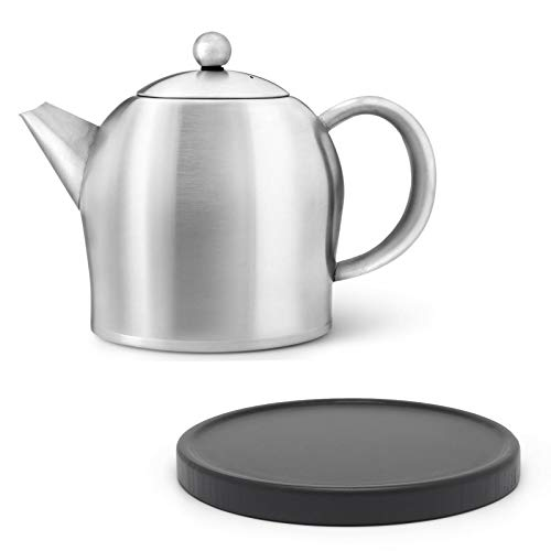 Bredemeijer kleine Matte doppelwandige Edelstahl Teekanne 1.0 Liter & schwarzer Untersetzer aus Holz
