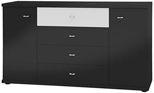 Wiemann 731606 Miro Kombikommode, Holz, schwarz, 86 x 42 x 149 cm, montiert